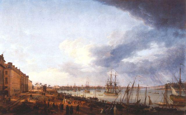 Première vue du port de Bordeaux prise du côté des Salinières - Horace Vernet - 1758