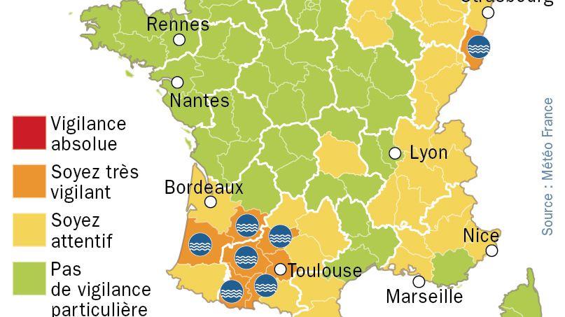 Crues : la vigilance orange étendue à 7 départements du Sud Ouest