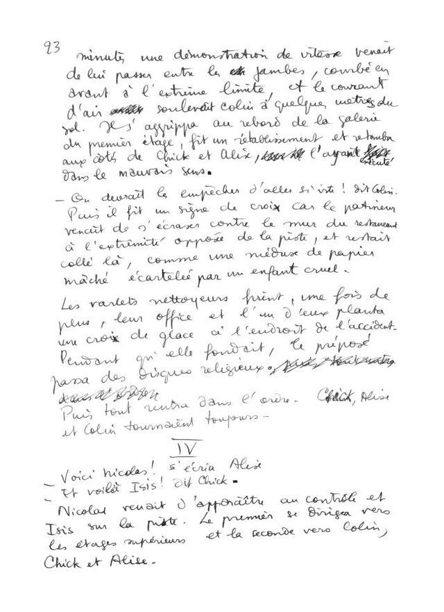 page 23 du manuscrit original de L'Écume des jours de Boris Vian
