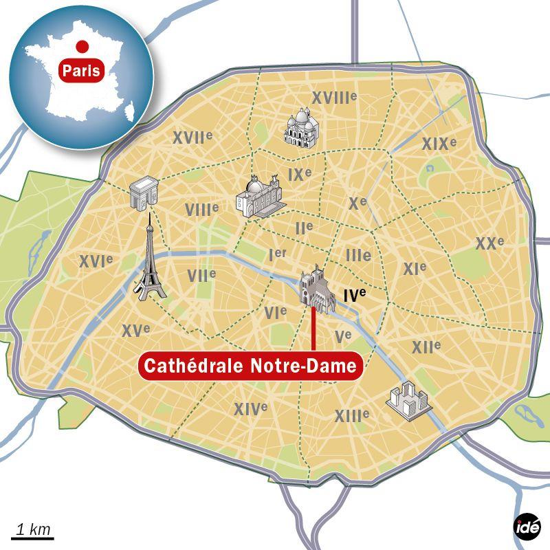 Carte de localisation de la cathédrale Notre-Dame à Paris