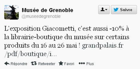Tweet promotionnel du musée de Grenoble