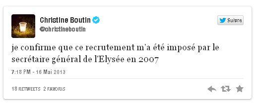 Tweet Boutin sur Guéant