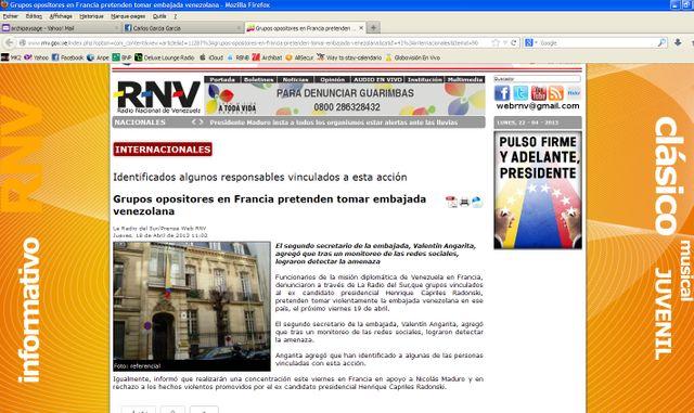 Anuncio sobre violencia en la embajada