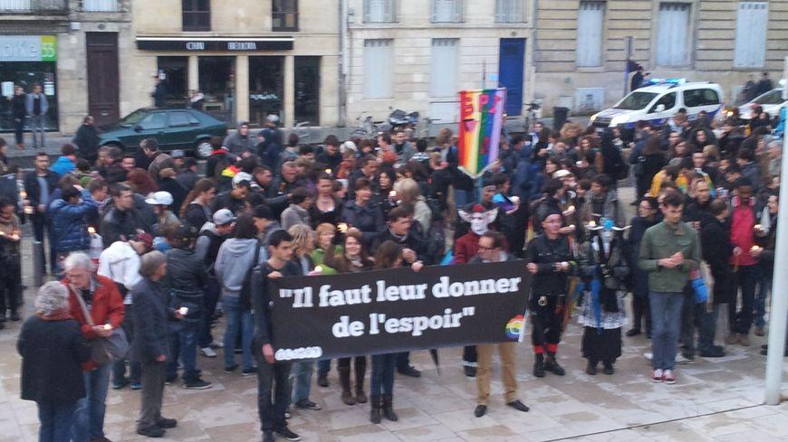Les manifestants s'étaient donné rendez-vous place Rohan à Bordeaux