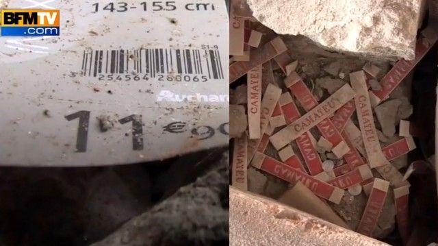 Des étiquettes Auchan et Camaieu retrouvées dans les décombres