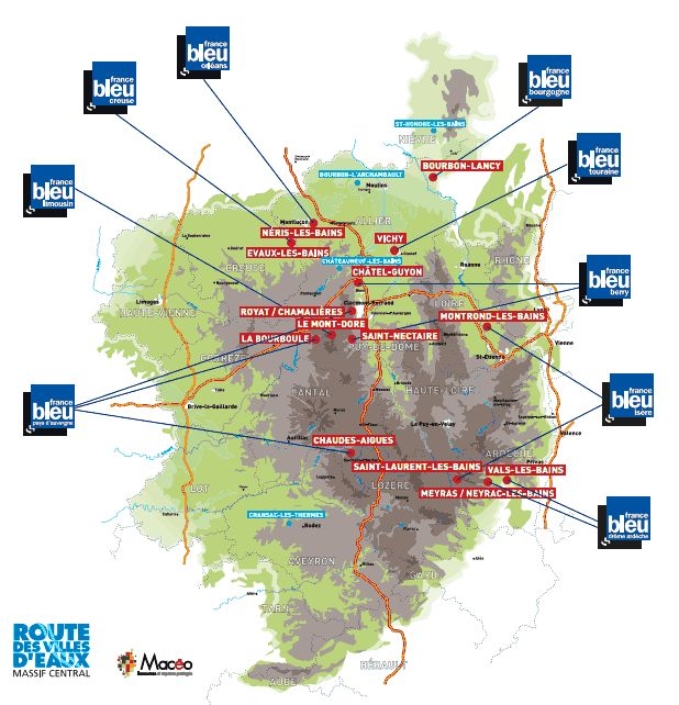 carte villes thermales Massif Central