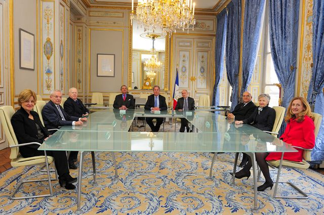 Les membres du Conseil constitutionnel en salle de séance le 14 mars 2013