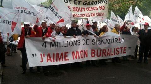 Toulouse, environ 2.000 buralistes manifestent dans les rues du centre ville