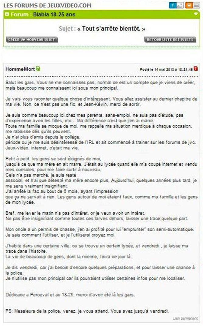 Homme mort menaces sur Internet d'une lycéen en Alsace