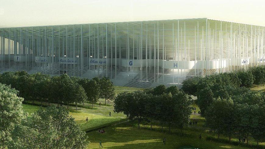 Vue extérieure du futur stade de Bordeaux-Lac