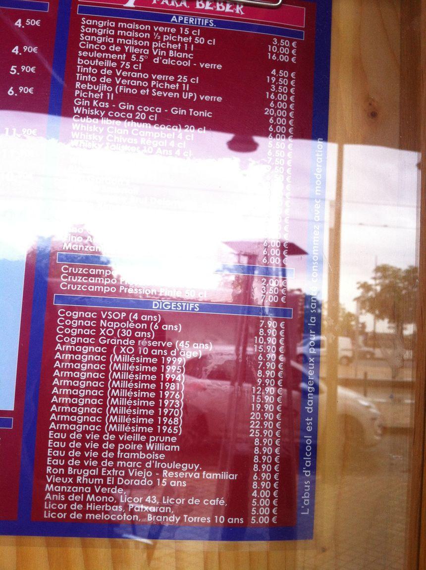 Carte des alcools du restaurant El Asador