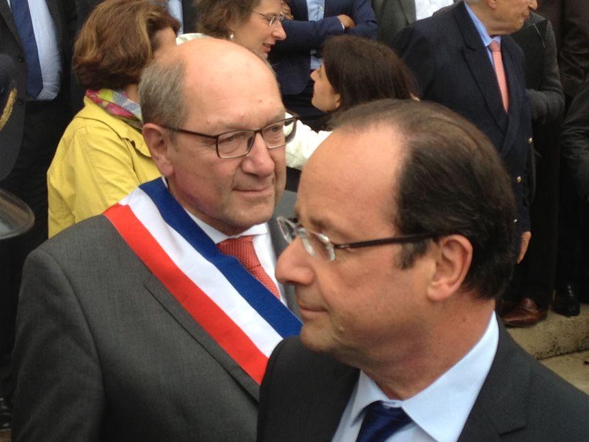 Visite Hollande à Caen - Hollande et Philippe Duron le maire de Caen