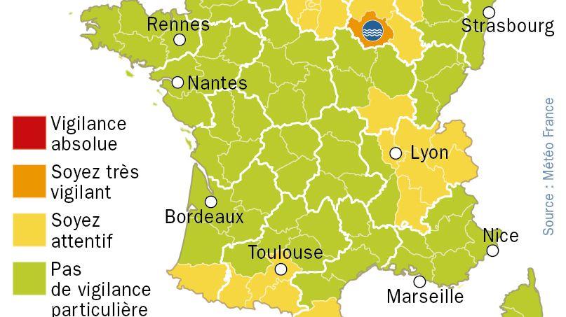 Alerte aux crues : la carte de vigilance de météo France