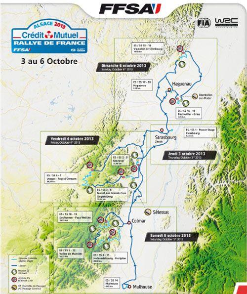 Carte des parcours du Rallye de France Alsace 2013
