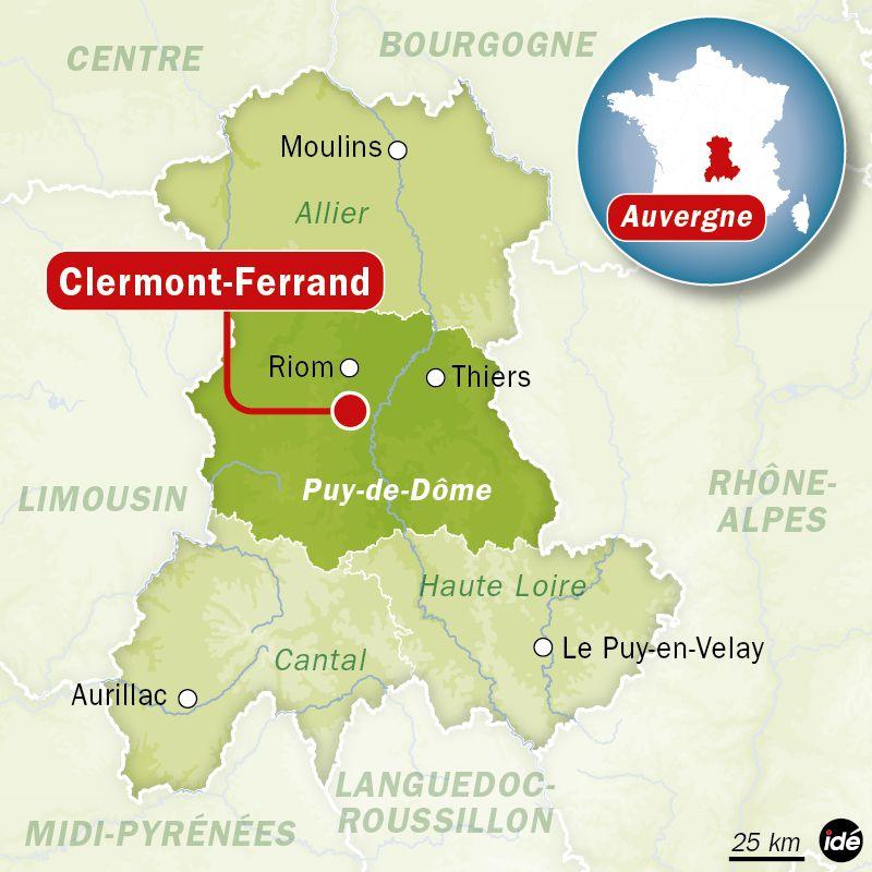 Carte de localisation de Clermont-Ferrand (Puy-de-Dôme)
