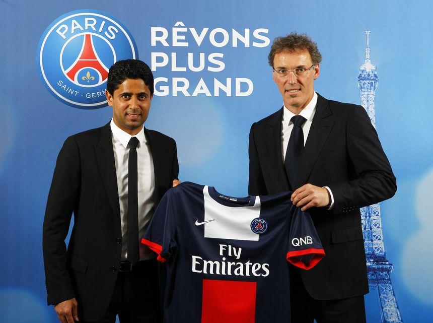 Le président du PSG Nasser Al-Khelaifi et son entraineur Laurent Blanc
