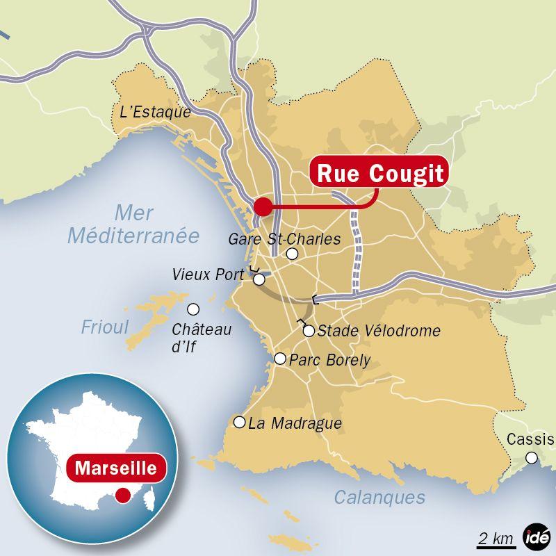 La carte de localisation de la rue Cougit (XVe arrondissement)