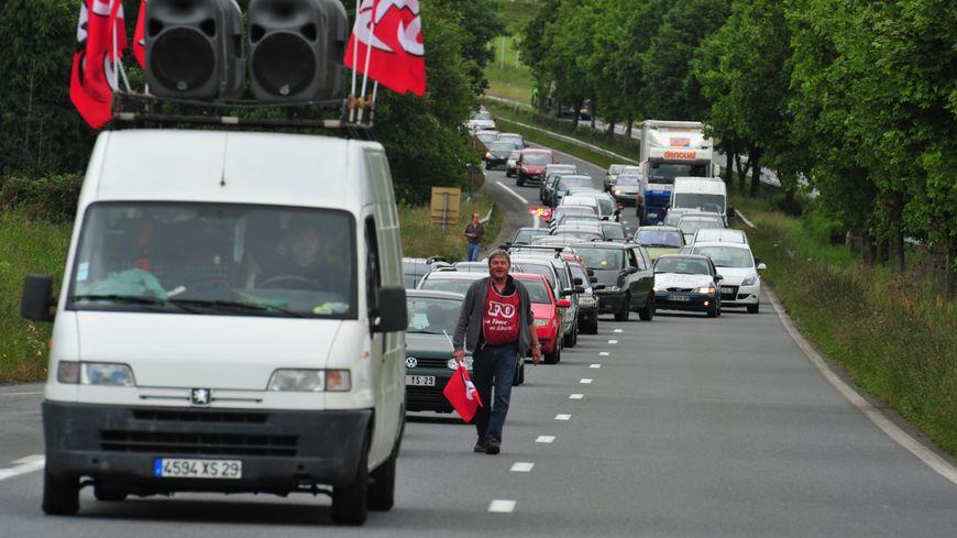 Manifestation en soutien aux salariés de l'abattoir GAD