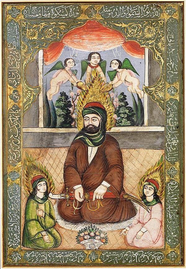 Imam Ali tenant son zulfikar avec ses enfants - Peinture iranienne - Dynastie Kadjar - Début du XIXème siècle