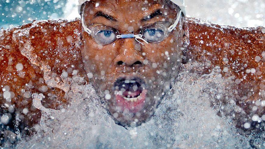 Mehdy Metella aux championnat de France de natation à Rennes (2013)