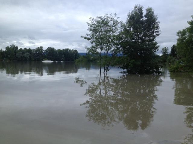 Inondations  à Mirepeix  en Béarn