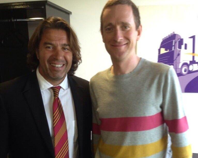 Le Directeur Général des Dragons Catalans avec Bradley Wiggins (Vainqueur du Tour de France 2012)
