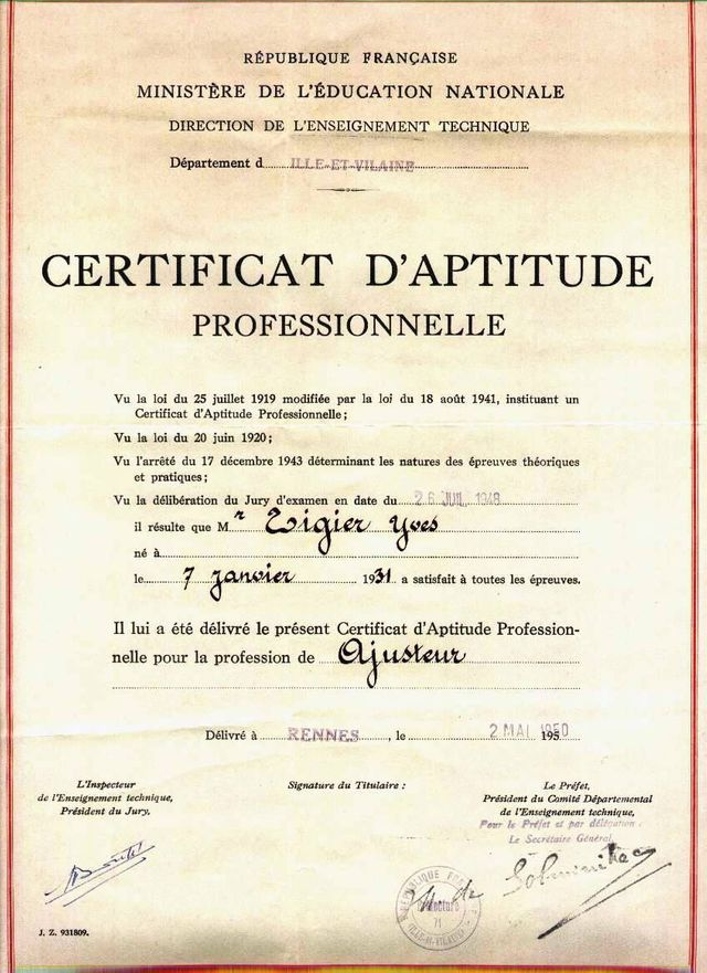 Diplôme du Certificat d'aptitude professionnelle d'ajusteur délivré en 1950