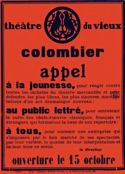 Affiche avec le Manifeste de Jacques Copeau annonçant l'ouverture du théâtre du Vieux-Colombier en 1913