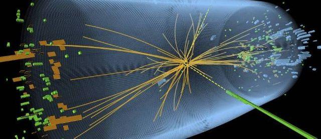 Représentation graphique d'une collision proton-proton réalisée dans un accélérateur de particules pour faire apparaître le boso