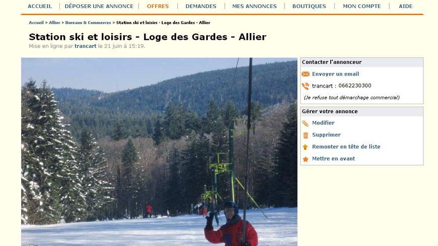 La station de ski de la Loge des Gardes, mise en vente dans une petite annonce sur internet.