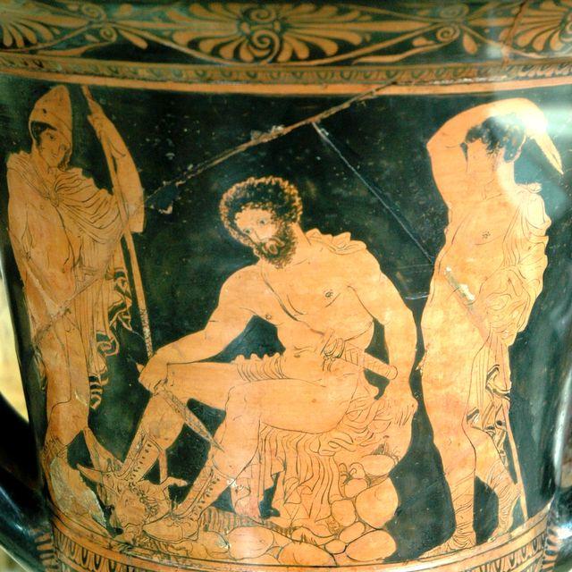 Ulysse aux Enfers consultant l'esprit de Tirésias - Cratère lucanien du Peintre de Dolon, IVe siècle av. J.-C.