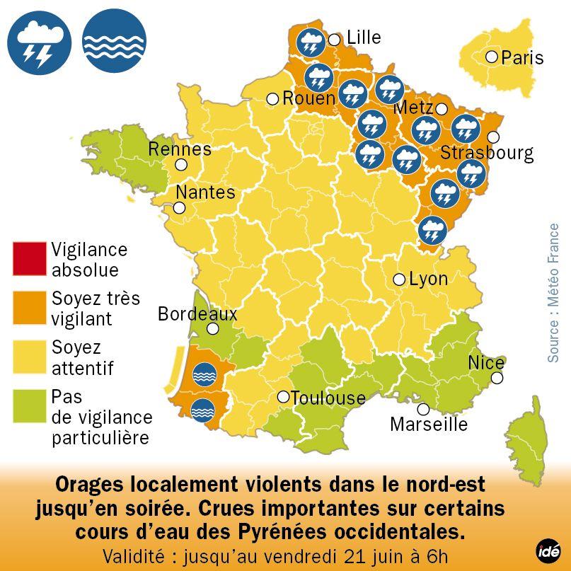 Météo : 21 départements en vigilance orange pour orages ou crues (carte actualisée à 10h)