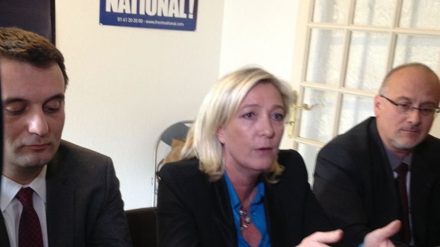 Marine Le Pen à Forbach aux côtes de Florian Philippot et Thierry Gourlot