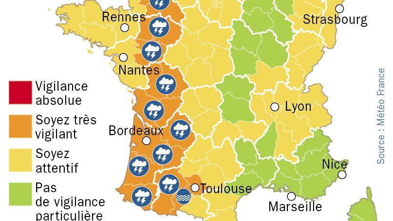 Orages et crues : 17 départements en vigilance orange. Carte Météo France actualisée à 16h