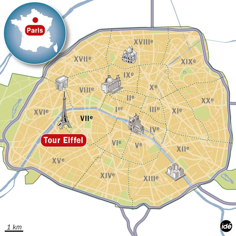 Carte de localisation de la Tour Eiffel