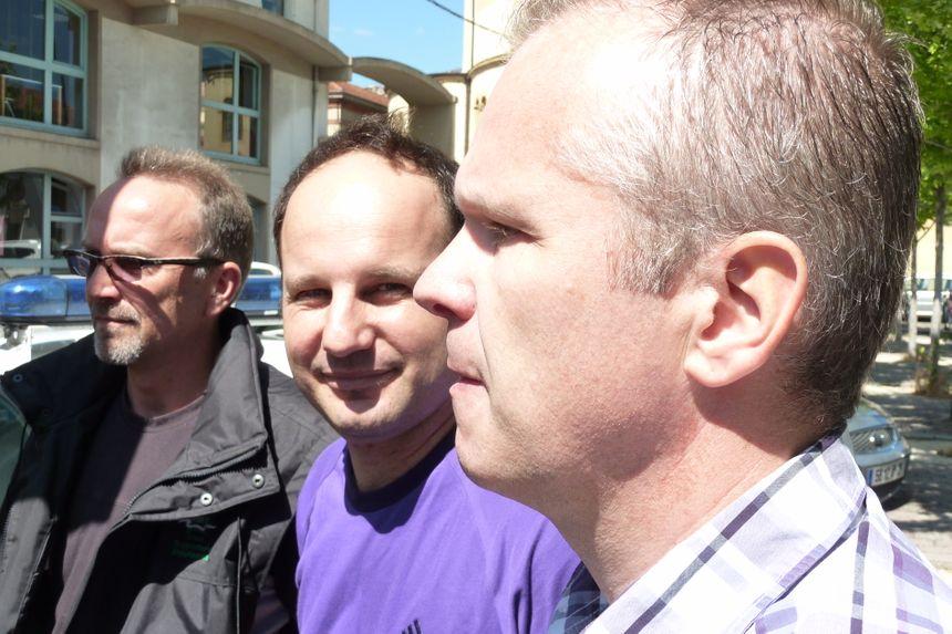 Christophe Allex et Daniel Steward (de profil) du syndicat Unité SGP Police Drôme
