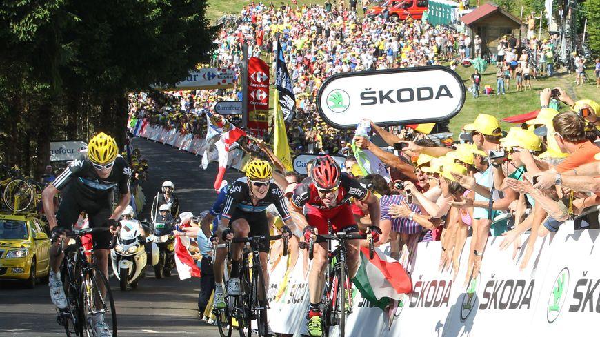 Tour de France, le 7 juillet 2012, La planche des belles filles, 7e étape, Froome gagne devant Evans et Wiggins. Cyclisme