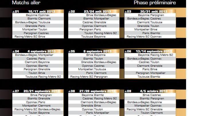Montpellier Rugby Calendrier.Rugby Le Calendrier 2013 2014 De L Ubb En Top 14