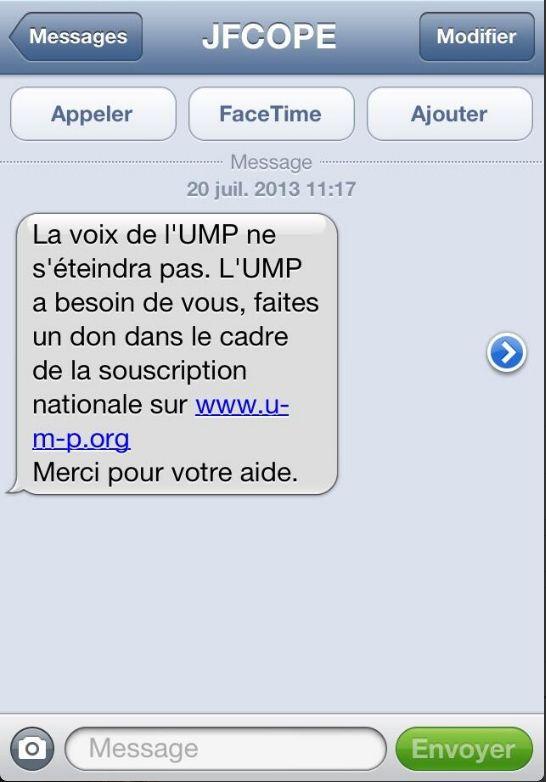 Le SMS envoyé par l'UMP