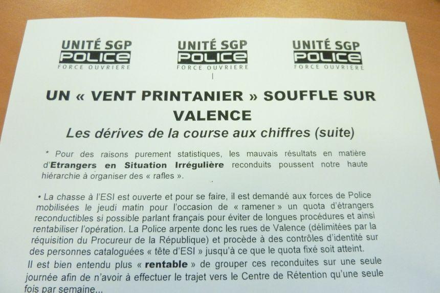 La tract du syndicat Unité SGP Police Drôme face aux interpellations d'étrangers en situation irrégulière