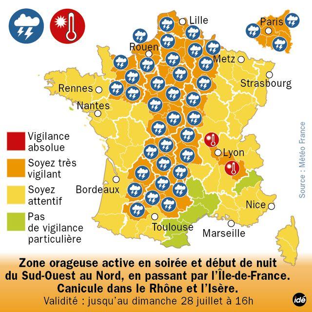 42 départements en alerte orages