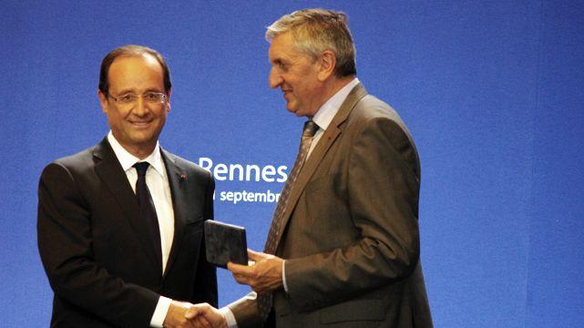 Jean-Michel Lemétayer et François Hollande au Space 2012à Rennes
