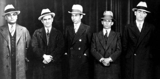 Paul Ricca, Salvatore Agoglia, Lucky Luciano, Meyer Lansky & John Senna, 1932