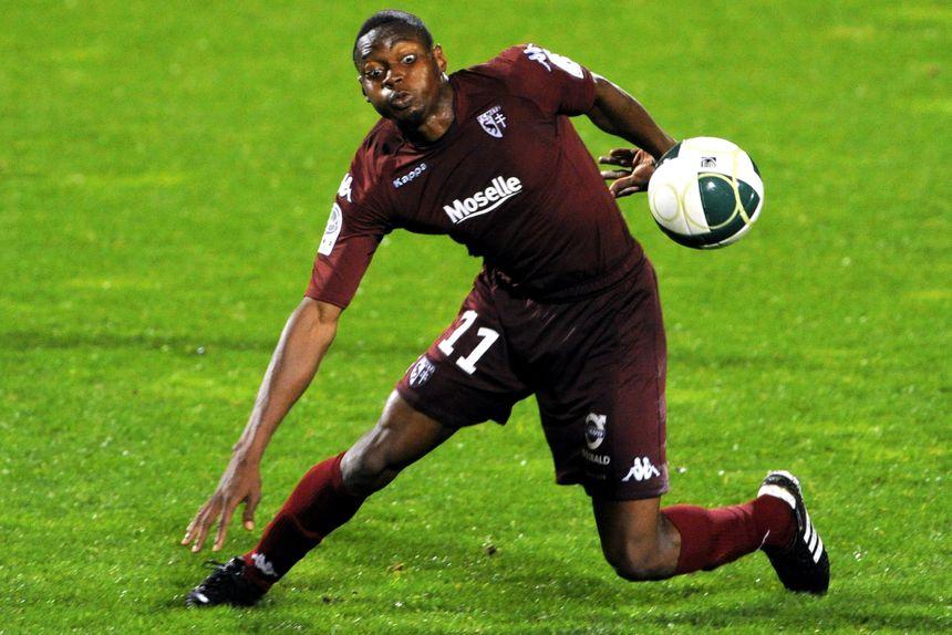 Diafra Sakho, attaquant du FC Metz, football, en 2010.