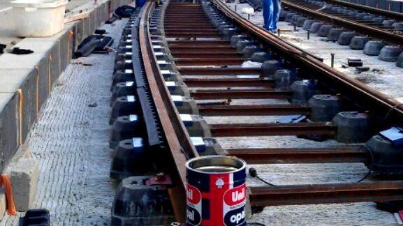 Le chantier du tramway au Mans