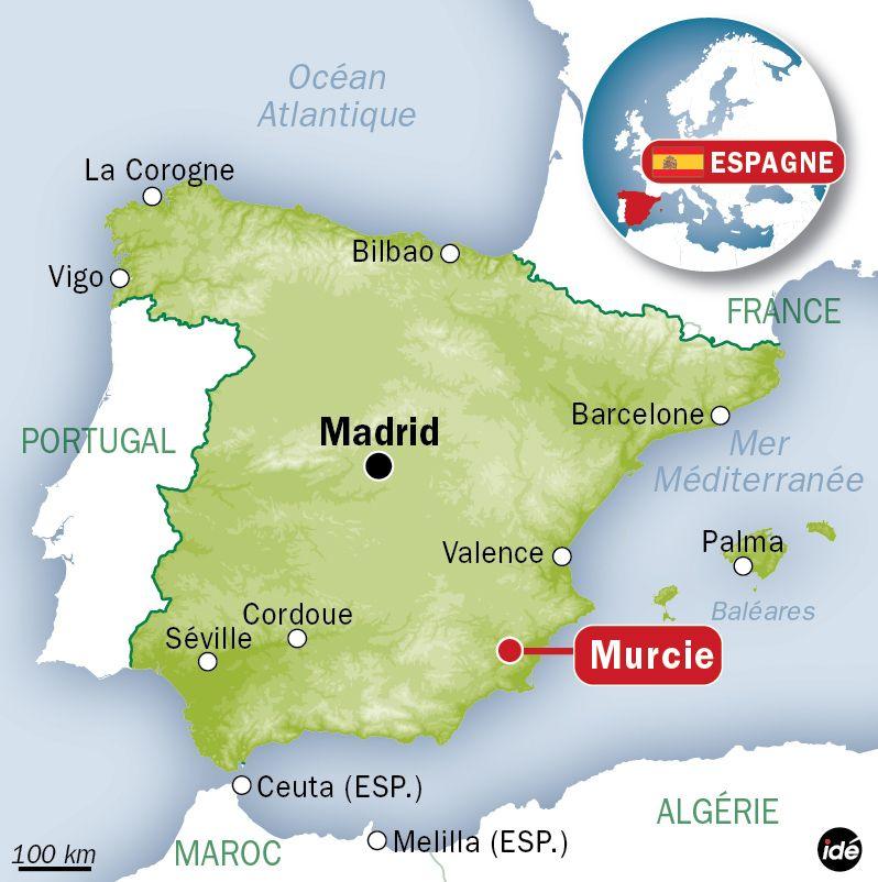 Carte de localisation de Murcie