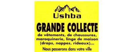 Le prospectus jaune distribué par Uschba pour une grande collecte de vêtements et chaussures à Eu en Seine-Maritime