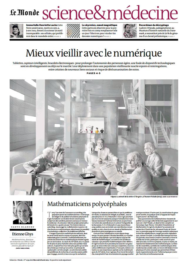 Couvertue, Le monde science et medecine 27/09