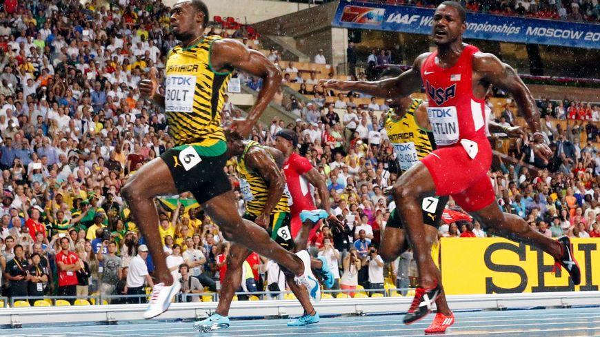 Usain Bolt, l'homme en or, vainqueur du 100m devant Justin Gatlin et Nesta Carter