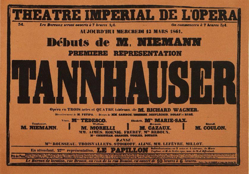 Affiche de la première représentation française de Tannhäuser